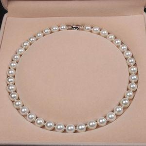 Ketten 8-10mm Runde Weiß Nature Sea Shell Perle Halskette Hohe Glanz Top Kette Für Frauen Schmuck Party Geschenke
