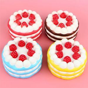 Squishy Cake Strawberry 향수 크림 핑크 옐로우 레드 커피 Blue Fidget 장난감 점보 장식 천천히 상승하는 Squishies 무료 배송