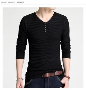 Fashion Casual Colthing Mens Jacquard V Neck Swearter Spring Designer Button Solid Color Sweaters Males Skinny Slim Autumn