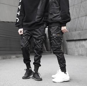 Pantalones de carga de bolsillo de los hombres cintas Bloque Negro Harem Joggers Harajuku Sweatpant Hip Hop Tatical Pantalones Venta caliente