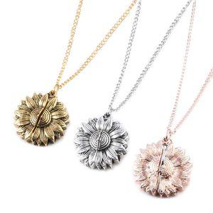 Sunflower Beschriftung Halskette Legierungs-Blumen-Doppelt-Schicht Kurzschlussclavicle Kette Sie sind mein Sonnenschein-Charme-Anhänger Neckalace für Frau LXL580-1
