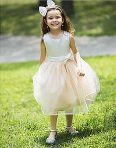 Новая шампанский Гренадин принцесса платье без рукавов девушки Pageant Dressses Прекрасных Bowknot Красивых Колена девушка цветка Dresse