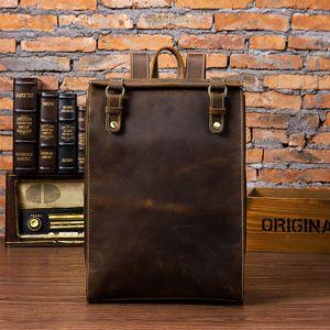 Zaino da uomo in pelle di cavallo pazzo zaino da 15 pollici borsa da viaggio per laptop zaino da viaggio in pelle di mucca vintage zaino da uomo scuola