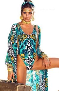 Ferien Kleidung Frauen Blätter gedruckt Strand-Bikini-Sets One Piece Bikini-Vertuschungbadebekleidung 2pcs