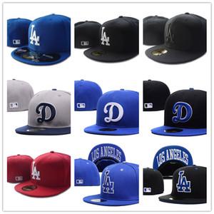 De calidad superior para hombre cabida Sombreros LA sombreros de béisbol planas aficionados logo del equipo bordado de ala completa tapa cerrada