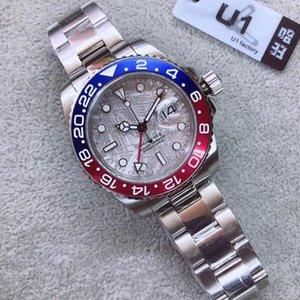 Graffiti Dial GMT Céramique Bezel Mens Mouvement mécanique automatique en acier inoxydable Rouge Bleu sportiveLa-vent Montres lumineux Wristwatch