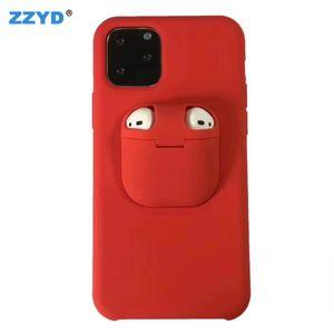 ZZYD 2in1 Airpods Abdeckung und Liquid-Silikon-Kasten für iP 11 Pro Max XS Max XR XS X 8 7 6 6s plus