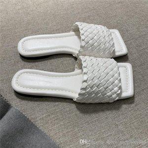 Früher Frühling stricken dünne Check Mode Pantoffeln und Sandalen Woven Lammfell Oberfläche mit Ledersohlen Damen Hausschuhe