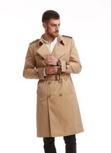 горячая распродажа! мужская мода Англия стиль длинный тренч / высокое качество хлопка двубортный тренч пальто для мужчин / Мужчины фирменное наименование траншеи B8696F390