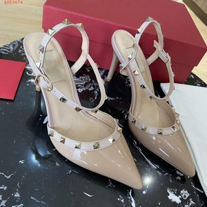 fashion show new styleLeather ladies high-heeled sandals with rivets decorated with black and white nude party pointy With Dust Bag