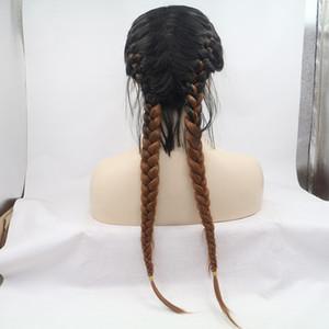 Aohai 2 Ton 2 Geflechte lange Spitze-Front-Perücke volle wärmebeständige Faser 24 Zoll lang billig synthetischer Haarersatz