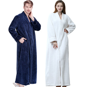Men Winter Thermal Plus Size Extra Long Thick Grid Flannel Bathrobe Mens Zipper Warm Bath Robe Dressing Gown Male Luxury Robes