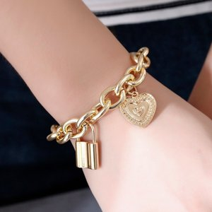 Fashion Hip Hop Gold Plated Lock and Love Heart Charms Punk Bracelet Women Mens Bracelet Valentines Couple Jewelry