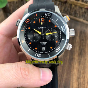 Barato Multifort GENT M005.914.17.030.00 Negro Dial Japón VK Movimiento cronógrafo de cuarzo del reloj para hombre plateado Caso relojes deportivos correa de caucho