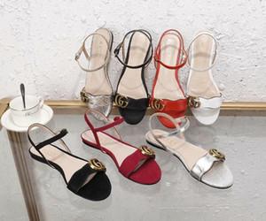 Sandalias planas de las mujeres Pisos Negro Sandalia de cuero de piel de mujer zapatos de diseño ajustable correa del tobillo con la caja