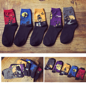 1pair Fashion Art Cotton Halloween Socks Painting Character Pattern For Women Men Lady Girl Unisex Ankle Hot Sale