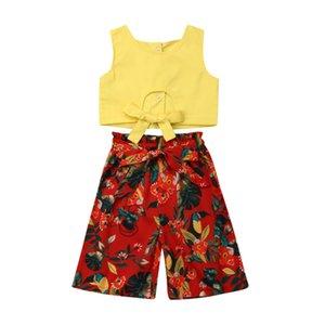 Девушки летняя одежда 2019 новый малыш девочка чистая рукавов полые топы + птичьи цветы печатных брюки наряды 1-5Y