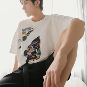 EWQ   men's wear summer korean style short sleeve t-shirt for male fashion loose hole printed white Tee tops 2020 new 9Y2887