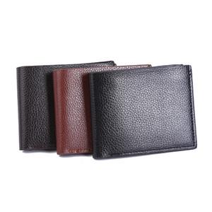 Para hombre casual de negocios Monedero Bifold fino Brown PU de cuero para billetes monedero Embragues famoso Calidad Negro diseñador de la carpeta para los hombres