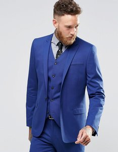 Popular one button blue Groom Tuxedos peak Lapel Groomsmen Men Wedding Suits Bridegroom (Jacket+Pants+Vest+Tie) NO:140