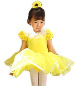 메쉬 발레 드레스 여자 댄스 의상 (292)으로 만든 여자 체조 레오타드 아이 노란색 벨벳 발레 발레 용의 짧은 스커트 댄스 드레스