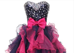 New Sexy Short Homecoming Dresses Sweetheart Neck Beads Crystal Graduation Dresse Organza Mini Prom Gown WD176