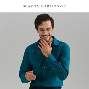 Shirt Regular подходит Slavna Martinovic2020 осени и зима теплой хлопка Tencel Peacock Blue Square Рубашка Бизнес Мужской