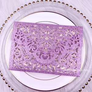 Cordially Inviting - Purple Glitter Pocket Wedding Invitations Full Laser Cut Invitation for Quinceanera Anniversary Greeting Cards