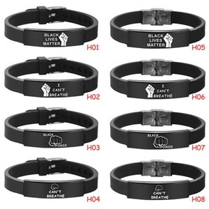 Non riesco a respirare Bracciale Nero Abita Materia acciaio inossidabile silicone Bangles braccialetti registrabili 8 stili LJJO8087