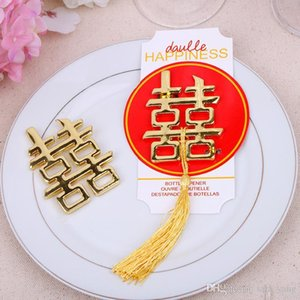 Hot sell 500pcs lot Chinese Asian themed double happiness bottle opener Wedding Party Favors Wedding giveaways