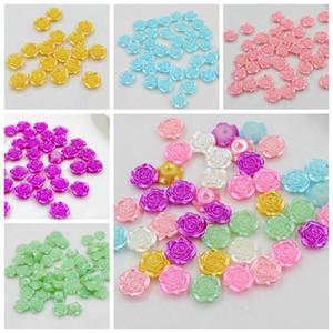 Venta al por mayor nueva moda 300 unids 12 mm Multi Craft ABS flor de rosa perlas de imitación Flatback perlas perlas Scrapbook Diy