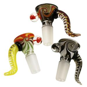 Großhandel 14mm 18mm Glasschüssel mit Ox Horn Griff Rauchen Schalen für Dab Rig Glas Wasserrohr Glas Bongs