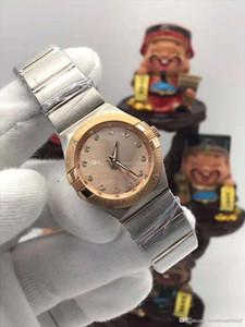 Montre de haute qualité pour femme constellation 28mm 123.20.Mother of pearl Gold Diamond Circle lunette en acier inoxydable quartz montres femmes