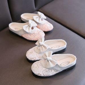 JY Summer Children girls cotton Slippers Non-slip girl Baotou bowknot hollow out slides 26-36 J01 TB02