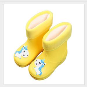 New Kids Rain Boots For Girls Rubber Rainboot Boys Baby Girl PVC Warm Children Waterproof Shoes Modis Cartoon Unicorn Removable