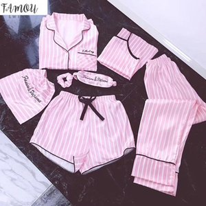 Pink 7 Pieces Women Pajamas Sets Satin Silk Lingerie Homewear Sleepwear Pyjamas Set Pijamas For Woman
