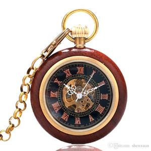Retro Mecânica Pocket Watch Men Mão Winding Red Wood Oco Esqueleto Número Romano Relógio Presente de Aniversário Colar Relógio FOB