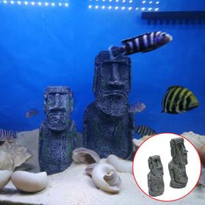 حوض السمك للدبابات محطة جزيرة الفصح وجه تمثال الديكور