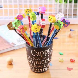 Escribir continuamente con lápices HB Borrador Gráfico de los niños de madera de dibujos animados Animales de lápiz de escritura Suministros de Oficina de la Escuela HA506