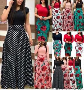 2700 # 10 Cor S-2XL Plus Size Senhoras Manga Longa Floral Boho Mulheres Partido Bodycon Vestido Maxi Roupas