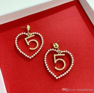 2020 South Korea Dongdaemun new pearl love earrings exaggerated number 5 hollow earrings net red tide popular temperament earrings