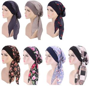 Frauen Turban Hat 7 Farben Muslim Hijab Blume gedruckt Turban-Kappen-Abdeckung Kopf-Schal-Verpackung Kopfbedeckung Strech Bandana LJJO7656