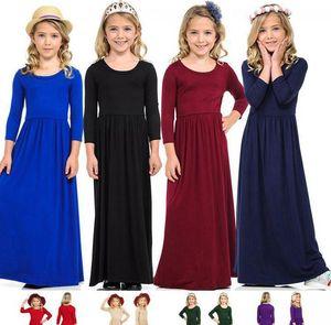 дети Princess Beach Dress богемские Maxi платья для девочек с длинным рукавом Детская одежда Наряды Повседневный партии одежды платье LJJK2024