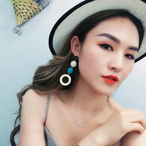 2020 populaire sauvage boucles d'oreilles fille tempérament linge chanvre corde hit couleur balle bois cercle en bois boucles d'oreilles boucles d'oreilles
