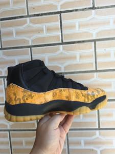 Zapatillas de deporte de los zapatos de baloncesto para hombre retro Nuevo 11 Dragón Amarillo Negro Rojo Blanco metálico de plata de los hombres XI 11s galaxia universo bajo encargo con la caja