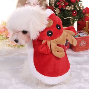 Cartoon Christmas Elk Dog Cosplay Costume Winter Warm Cotton Hooded Cloak Coat Warm Xmas Clothes