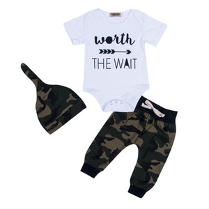 Newborn Baby Clothes Set 3PCS Camouflage Kids Suit Wait The Wait Baby Romper Jumpsuit+Pant+Hat Outfit Bebes Giyim Child Clothing