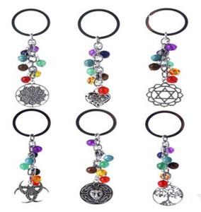 Yoga Reiki 7 Çakra Anahtarlıklar Doğal Taş Anahtarlık Antik Gümüş Hayat Ağacı Çapa El Anahtarlık Halka Çanta Asın Takı
