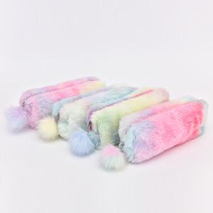 Peluche arc-en-couleur mignon Porte-Monnaie étudiants Fille Coin Crayon sac de rangement Kawaii enfants coloré argent stylo poche pour les enfants cadeau