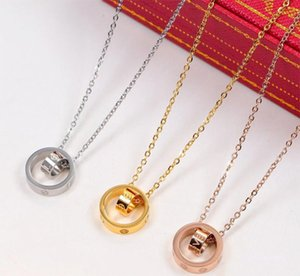 2020 LIEBE Dual-Kreis-Anhänger Rose Gold-Silber-Farben-Halskette für Frauen Eleganz Luxus Schmuck
